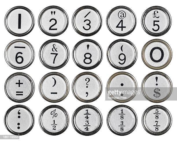 White Vintage Typewriter Number Keys