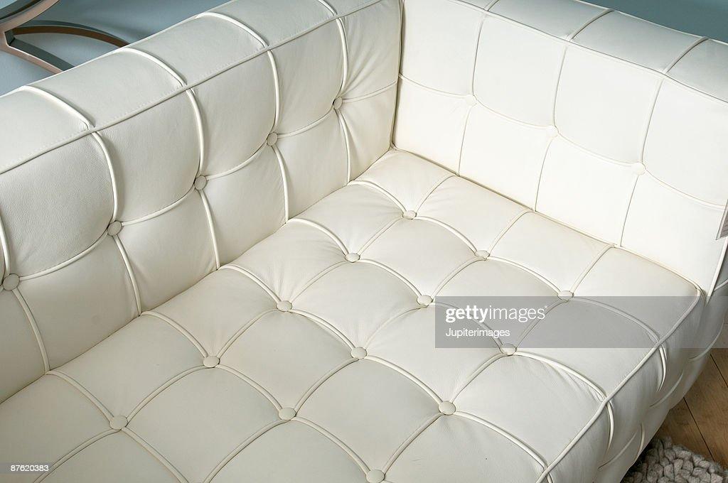 White Vinyl Sofa Stock Photo Getty Images