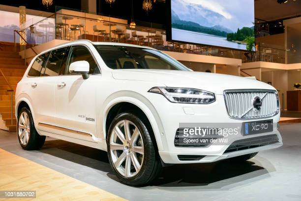 White Volvo XC90 midsize luxury crossover SUV front view The T8 plugin hybrid version has batteries situated at the centre of the vehicle that can be...