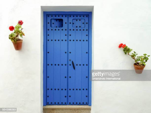 White wall with potted plants and blue door, Spain