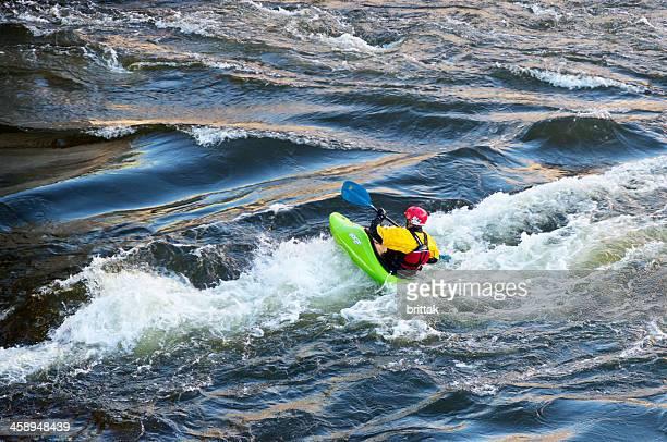 white water racer in central stockholm sweden - stroomversnelling stockfoto's en -beelden