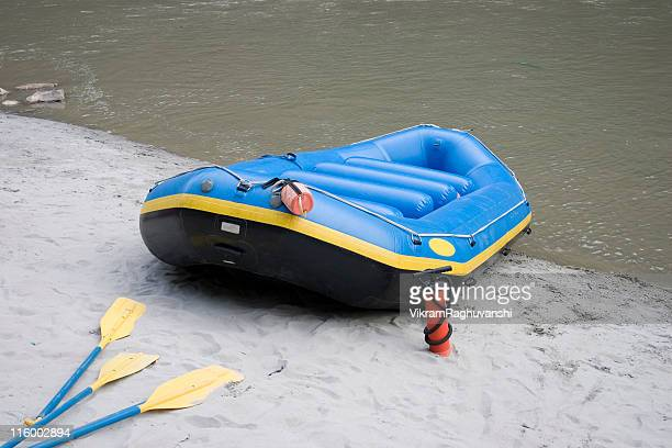 White Water Rafting Empty Raft Bank of River Ganga Rishikesh