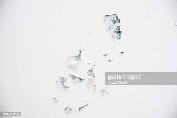white weathered wall - peeling off stock photos and pictures