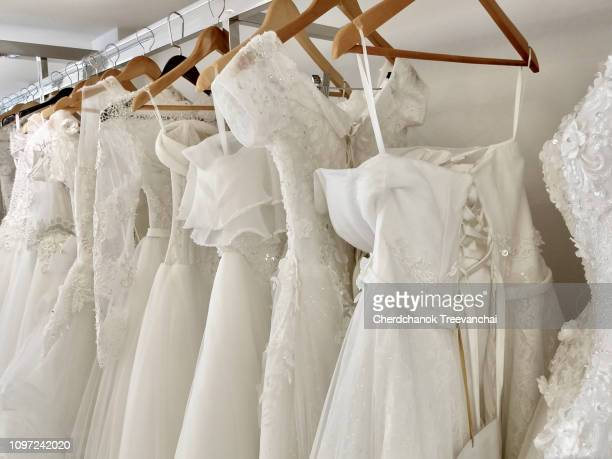 white wedding dress - wedding dress stock pictures, royalty-free photos & images