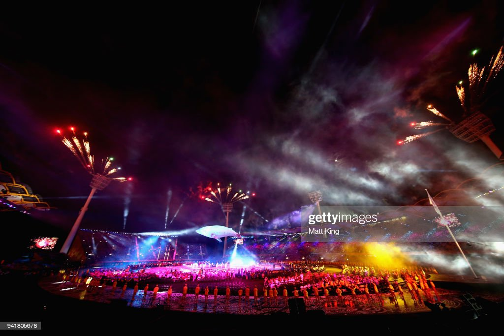 White Whale Migaloo is seen during the Opening Ceremony for the Gold Coast 2018 Commonwealth Games at Carrara Stadium on April 4, 2018 on the Gold Coast, Australia.