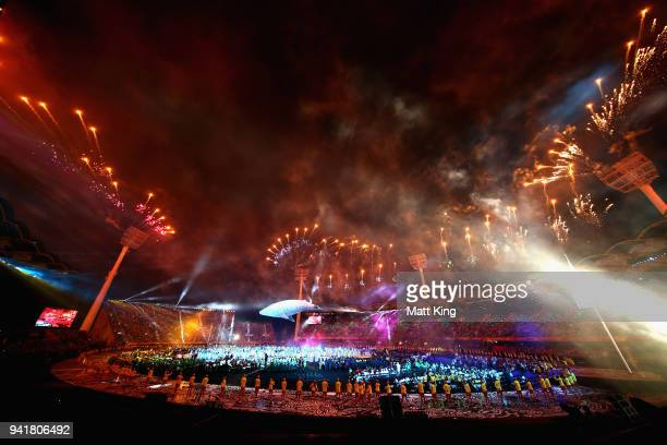 White Whale Migaloo is seen during the Opening Ceremony for the Gold Coast 2018 Commonwealth Games at Carrara Stadium on April 4 2018 on the Gold...