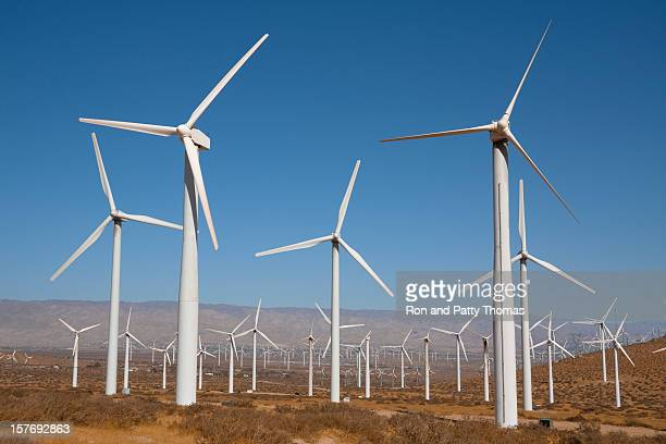 white wind turbines near palm springs, california - royal blue stock pictures, royalty-free photos & images