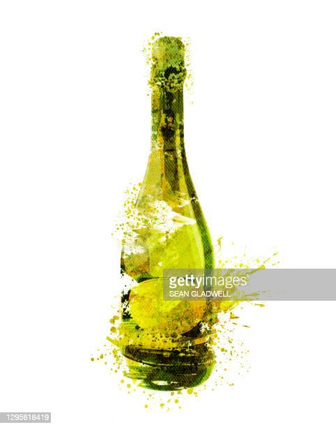white wine bottle illustration - painted image stock pictures, royalty-free photos & images