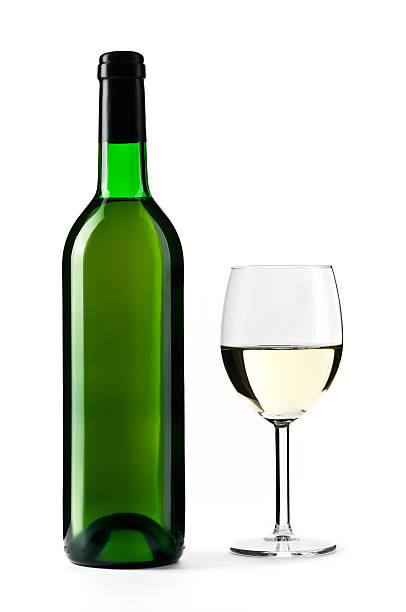 White Wine Bottle With Wine Glass, Isolated On White Wall Art