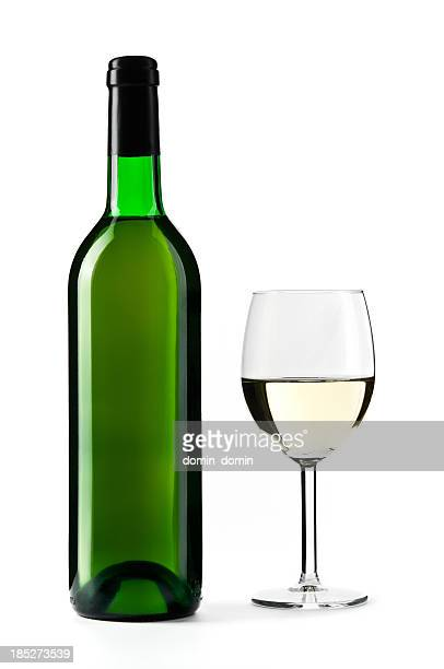 white wine bottle with wine glass, isolated on white - chardonnay grape stock photos and pictures