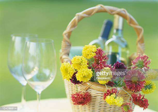 White Wine in Flower Basket