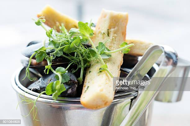 white wine mussels with garlic bread