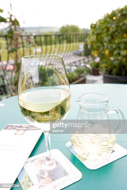 white wine on table at restaurant, moselle, germany - moselle stock pictures, royalty-free photos & images