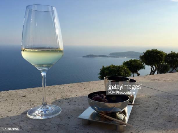 White wine overlooking the Mediterranean Sea