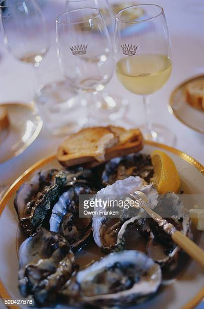 White Wine Served with Oysters