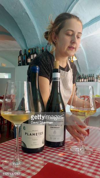 White wines from local Priorat wineries Planetes de Nin and Terra de Cuques are served with lunch at the Restaurant la Cooperativa on October 4 2018...