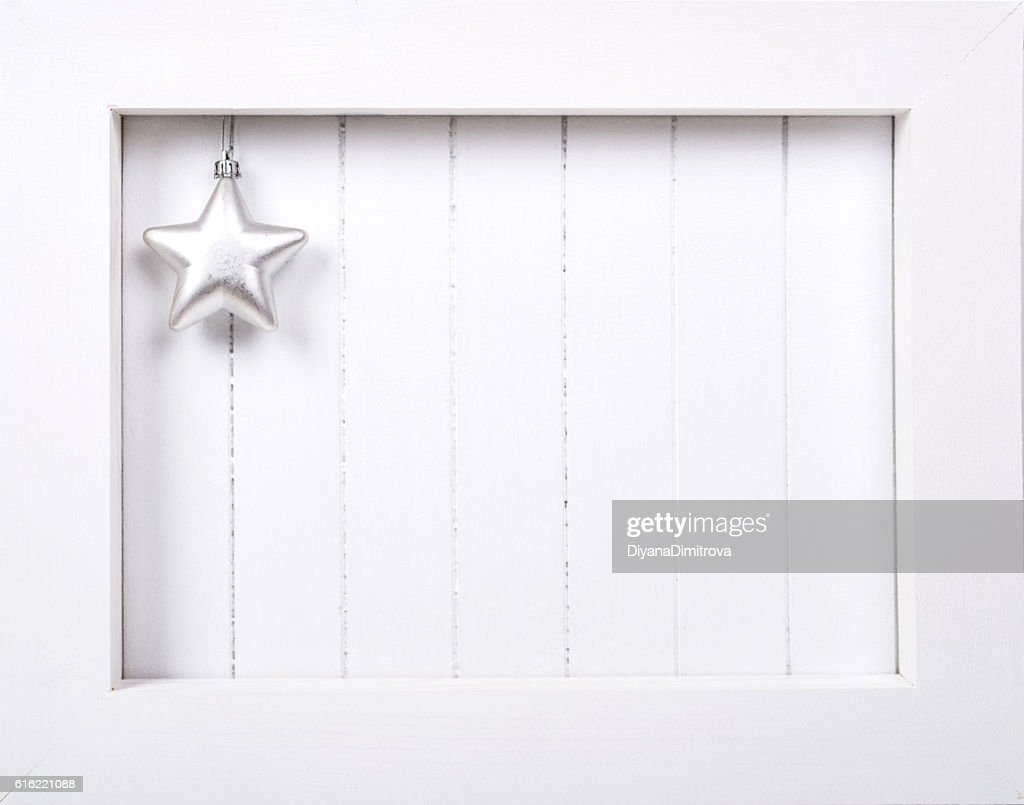 White wooden frame and  christmas decoration over white background : ストックフォト
