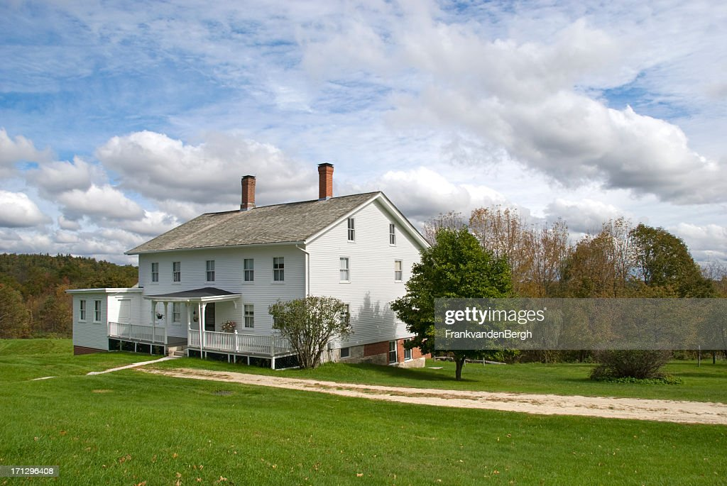 White wooden New England farmhouse : Stock Photo
