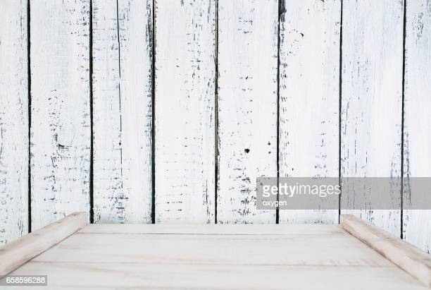 White wooden plank wall background