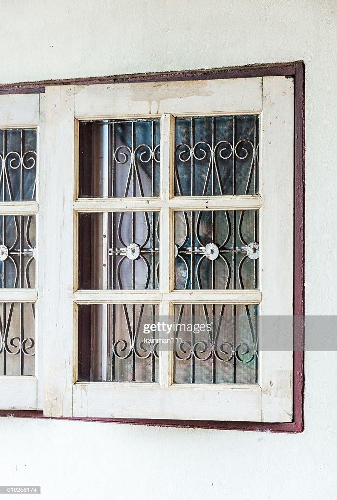 White wooden windon : Foto de stock