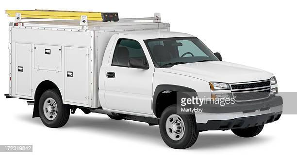 White work truck with ladder (clipping path)
