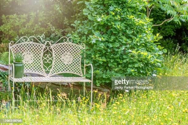 white wrought iron chair in an english cottage garden with soft sunshine and wildflowers - summer stock pictures, royalty-free photos & images