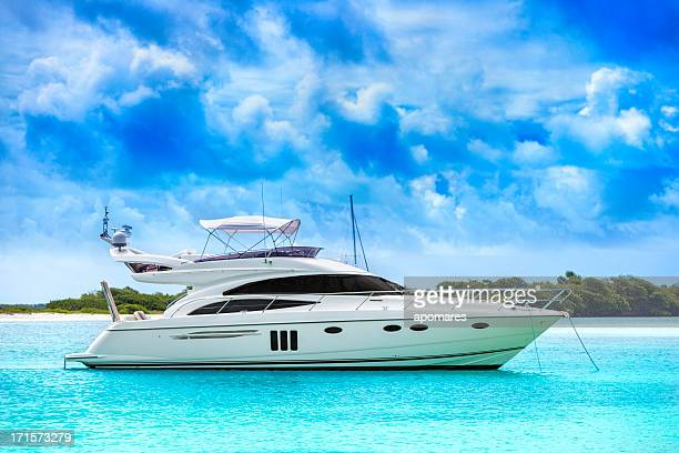white yacht in the middle of the water - yacht stock pictures, royalty-free photos & images