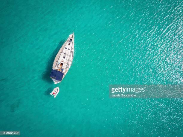 White yacht landing on Adriatic Sea, Ortanto, Italy