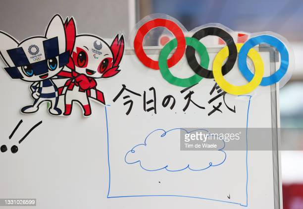 Whiteboard displays the weather forecast in the shape of a cloud during the Women's Individual time trial on day five of the Tokyo 2020 Olympic Games...
