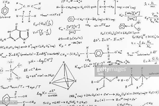 whiteboard of written complex chemistry work - molecules stock photos and pictures