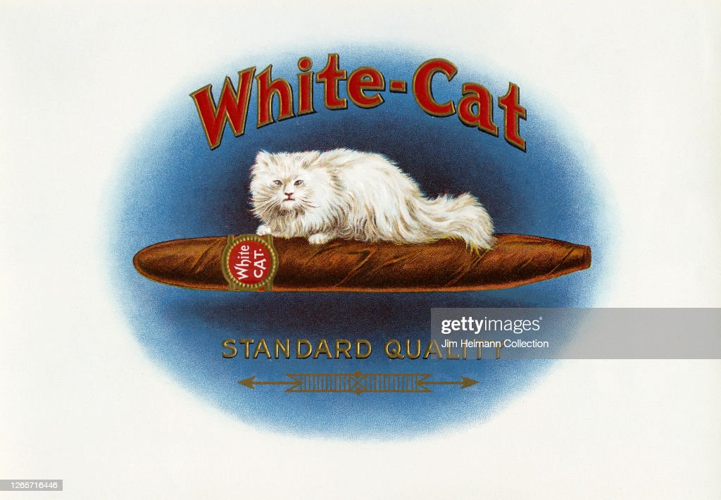A White Cat Cigar Advertisement Shows An Illustration Of A Cat News Photo Getty Images
