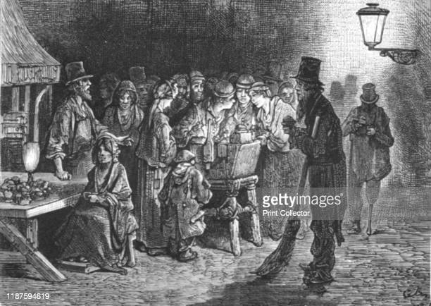 Whitechapel Refreshments' 1872 A group stand round a potato vendor in London's East End From LONDON A Pilgrimage by Gustave Dore and Blanchard...