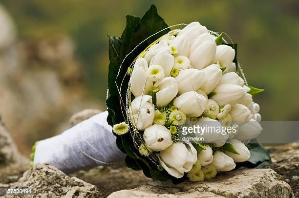 Blanco-Verde Bouquet nupcial en el Rock.