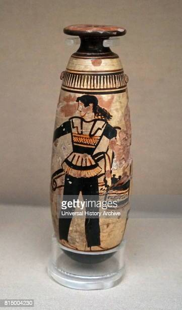 Whiteground alabastron showing an armed Amazon warrior in a trouser suit Greek made in Athens about 470 BC