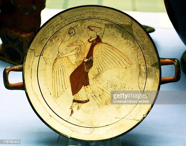 Whiteground drinking cup potted in Euphronios' workshop Aphrodite the goddess of Love flies through the skies on her goose The cup was found together...