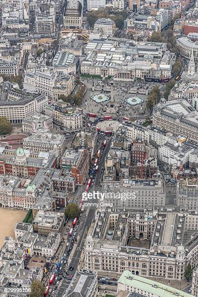 whitehall and trafalgar square london aerial view - whitehall london stock photos and pictures