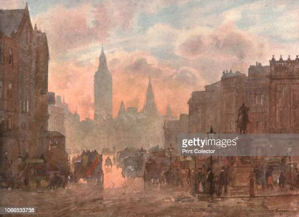 Whitehall from Charing Cross' circa 1899 The view from Trafalgar Square in Westminster London with the equestrian statue of King Charles I on the...