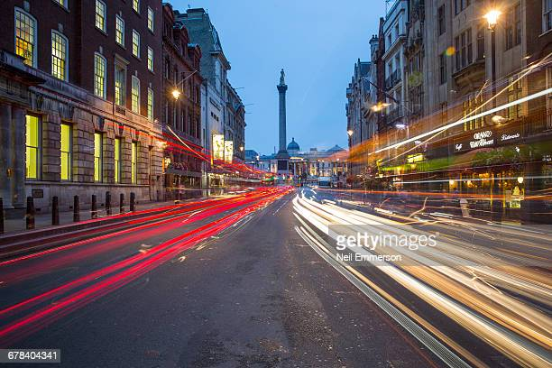 Whitehall looking towards Nelsons Column, London, England, United Kingdom, Europe