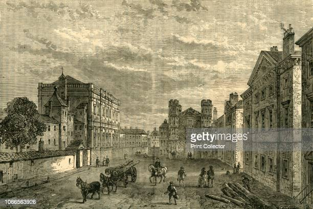 Whitehall, Looking Towards the Holbein Gateway', . The Holbein Gate, entrance to the Palace of Whitehall at Westminster, then a village outside...