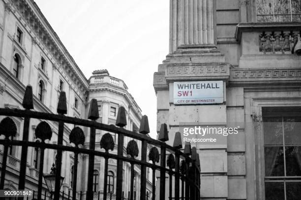 whitehall sign outside downing st, london - whitehall london stock photos and pictures