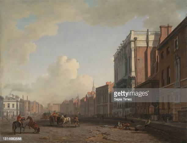 Whitehall, William Marlow, 1740–1813, British, ca. 1775, Oil on canvas, Support : 28 x 35 7/8 inches , banquet hall, buildings, carriages, carts,...