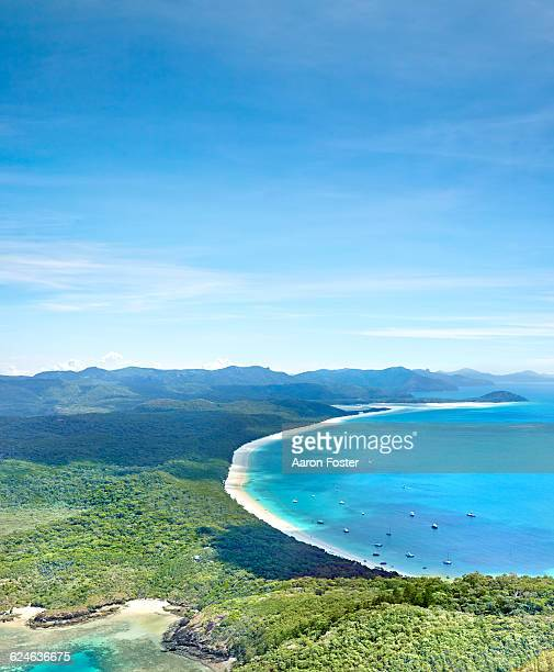 whitehaven beach and hill inlet - international landmark stock pictures, royalty-free photos & images