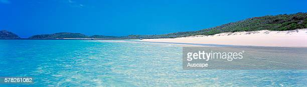 Whitehaven Beach famous for its white sand which is 98 percent pure silica Whitsunday Island Whitsunday Group Great Barrier Reef Queensland Australia