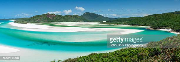 whitehaven pano - whitehaven beach stock photos and pictures