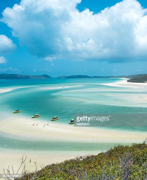 whiteheaven beach, whitsunday with boat - whitsunday island stock photos and pictures