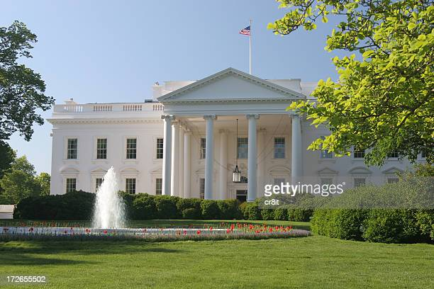 whitehouse on a beautiful spring day in dc - white house west wing stock photos and pictures