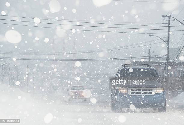 whiteout conditions - driving stock pictures, royalty-free photos & images