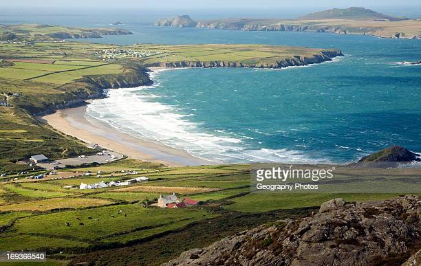 Whitesands Bay and Ramsey Island from Carn Llidi St David's Head Pembrokeshire Wales