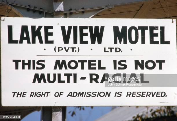 Whites-only sign at the Lake View Motel in Harare, Rhodesia, circa July 1964. The John Bulmer Odyssey images were first published under the headline...