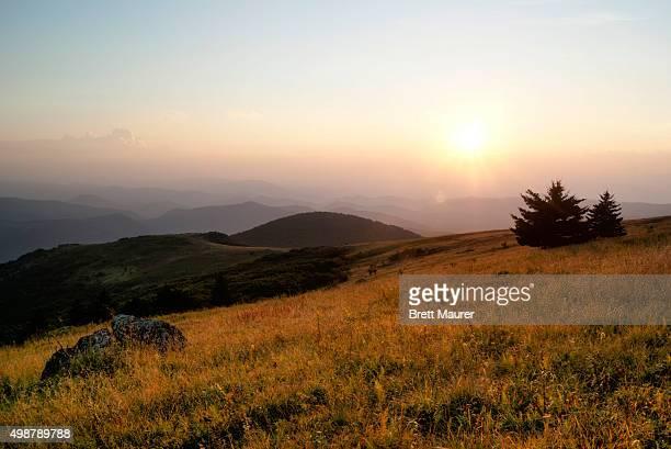 Whitetop Mountain at sunset, Appalachian Trail, Virginia
